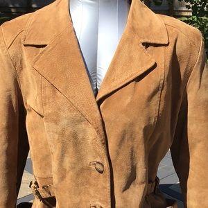 Vintage BoHo Suede Leather Coat Removable Lining